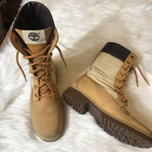 Timberland Ladies Tan Lace Up Leather Canvas